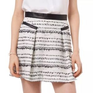 Rebecca Taylor Black White Silver Tweed Mini Skirt
